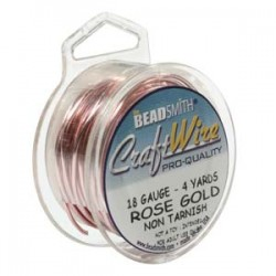 18ga (1mm) Beadsmith Dead Soft Craft Wire - Rose Gold - 4yds