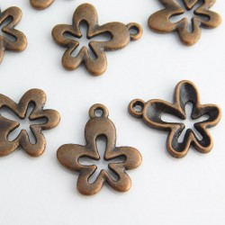 17mm Flower Charms - Copper Tone - Pack of 8