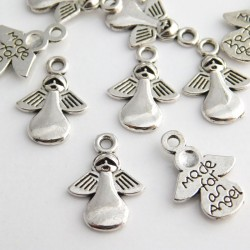 """18mm """"Made for an Angel"""" Charm - Antique Silver Tone - Pack of 8"""