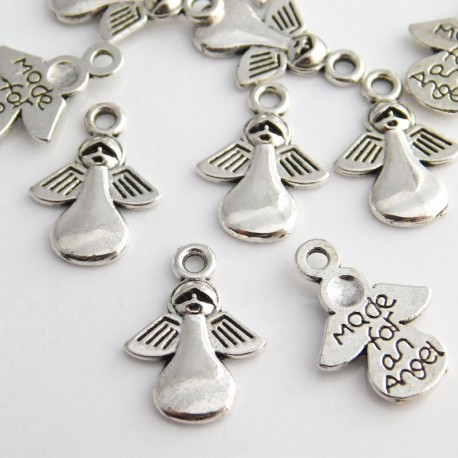 """Antique Silver Tone """"Made for an Angel"""" Charms - 18mm"""