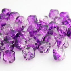 8mm Purple and Clear Bicone Crackle Beads
