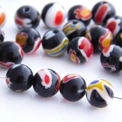 Millefiori 6mm Round Glass Beads - Black