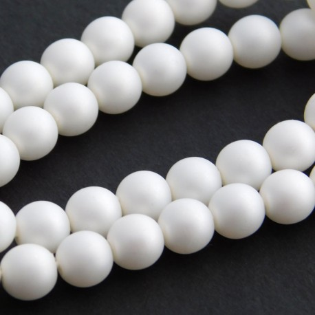 6mm Czech Glass Pearl Beads - Matt White