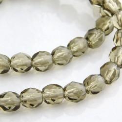 6mm Fire Polished Czech Glass Beads - Black Diamond