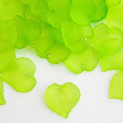 16mm Frosted Acrylic Leaves - Lime Green