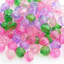 8mm Acrylic Faceted Round Beads - Mixed Colours