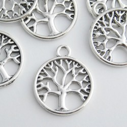 24mm Tree of Life Filigree Charm - Antique Silver Tone