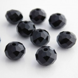Crystal Glass Rondelles 8mm x 10mm - Black