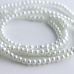 4mm Value Glass Pearl Beads - White