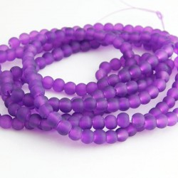 4mm Frosted Glass Beads - Purple