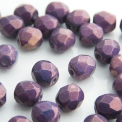 6mm Fire Polished Czech Glass Beads - Chalk Lila Vega Lustre
