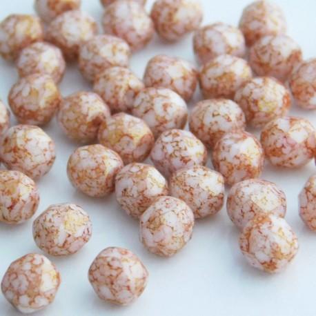 6mm Fire Polished Czech Glass Beads - Chalk White Pink Lumi