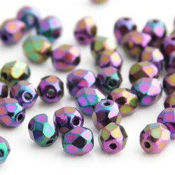 4mm Fire Polished Czech Glass - Jet Purple Iris - Pack of 50