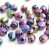 4mm Fire Polished Czech Glass Beads - Jet Purple Iris