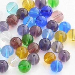 Round Glass Beads - Mixed Colour & Size - Pack of 40