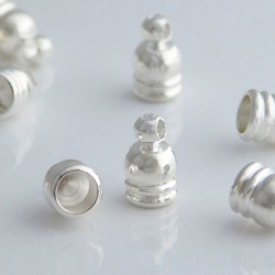 3.5mm Cord End Caps - Silver Plated - Pack of 4