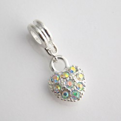 Dangle Charm Heart - Clear AB Rhinestones