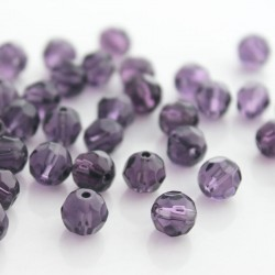8mm Faceted Round Glass Beads - Purple