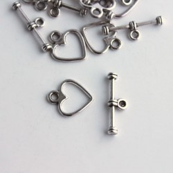 Antique Silver Tone 12mm Heart Shaped Toggle Clasp