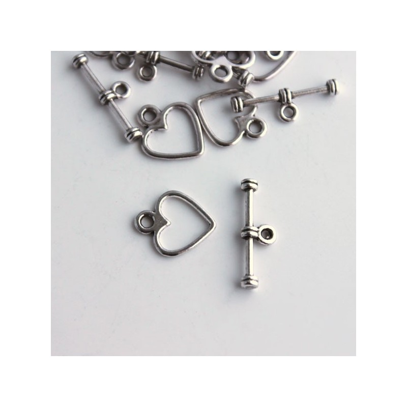 Antique Silver Tone 12mm Heart Toggle Clasp - Jewellery..
