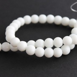 8mm Round Glass Beads - White