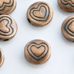 6.5mm Flat Round Heart Beads - Antique Copper Tone