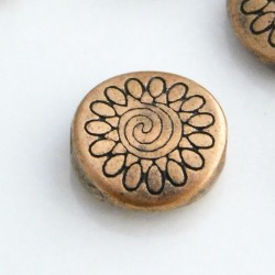8.5mm Flat Round Flower Beads - Antique Copper Tone