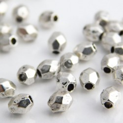 4mm Faceted Oval Beads - Antique Silver Tone