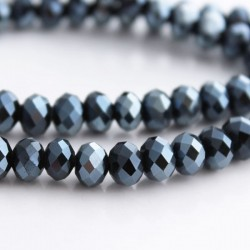 6mm x 8mm Pearlised Black Crystal Rondelle Beads - 20cm strand