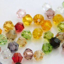 Crystal Glass 4mm Bicone Beads - Mixed Colours