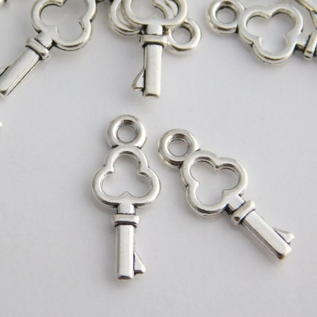 Antique Silver Tone Small Key Charms - 16mm