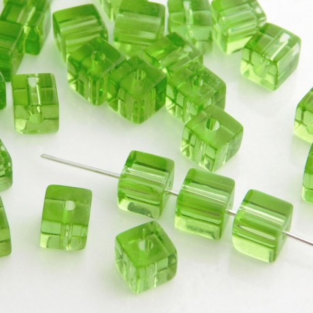6mm Polished Glass Cube Beads - Light Green