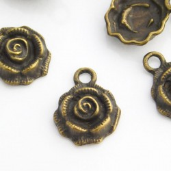 17mm Rose Charms - Antique Bronze Tone - Pack of 5