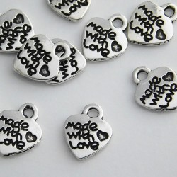 """12mm """"made with love"""" Heart Charm - Antique Silver Tone - Pack of 10"""