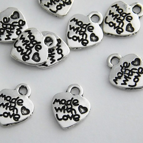 """Antique Silver Tone """"Made with love"""" Heart Charms"""