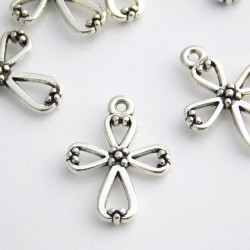 22mm Cross Charm - Antique Silver Tone