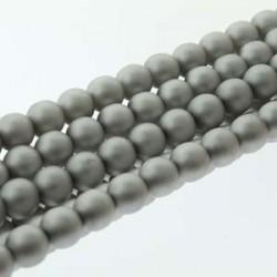 4mm Czech Glass Pearl Beads Matt Silver - Pack of 120