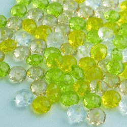 5x8mm Acrylic Rondelle Beads Lemon & Lime Mix - Pack of 100