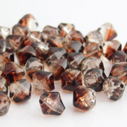 8mm Brown and Clear Bicone Crackle Beads - Pack of 40