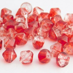 8mm Red and Clear Bicone Crackle Beads - Pack of 40
