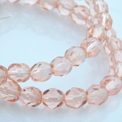 6mm Fire Polished Czech Glass Beads Light Pink - Pack of 50