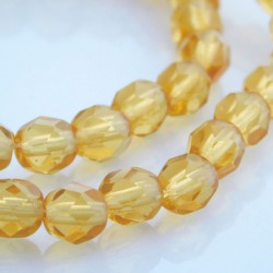6mm Fire Polished Czech Glass Beads Amber - Pack of 50