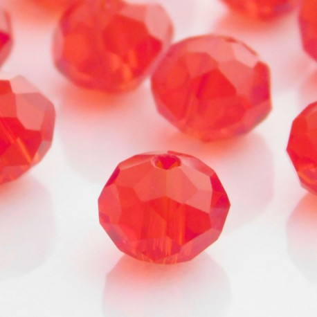 6mm x 8mm Crystal Rondelles Red - Pack of 20