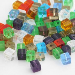 4mm Polished Glass Cube Beads Mixed Colours - Pack of 100