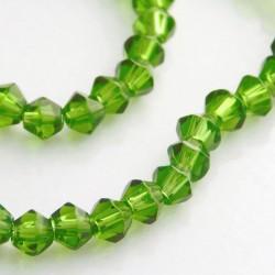 4mm Glass Bicone Beads Green - 31cm Strand
