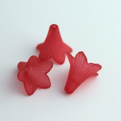 22mm Frosted Acrylic Flower Beads - Red