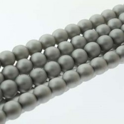 8mm Czech Glass Pearl Beads Matt Silver - Pack of 25
