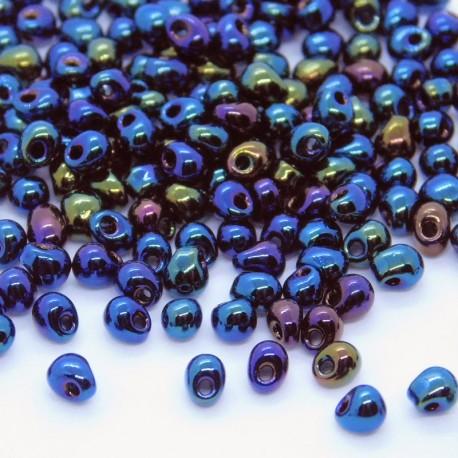 Miyuki 3.4mm Drop Beads - Metallic Dark Blue Iris - 10g