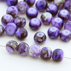 6mm Marbled Glass Beads - Purple - Pack of 60
