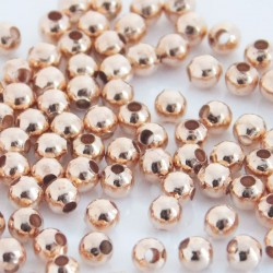 4mm Round Metal Beads - Rose Gold Coloured - Pack of 100